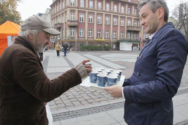 Robert Biedroń in Słupsk im Kommunalwahlkampf, November 2014