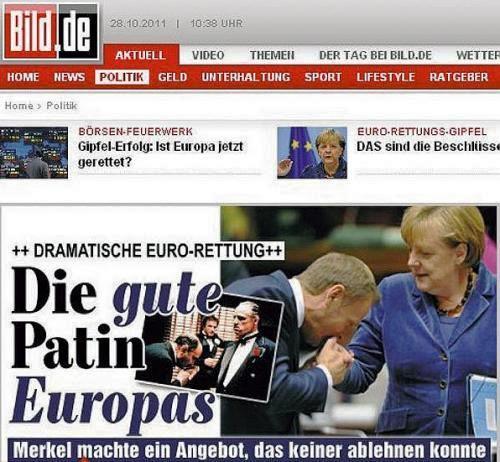 """Deutsche """"Bild-Zeitung"""" ausgabe. Tusk verglichen mit einem kleinen Ganoven, der dem Mafioso Vito Corleone die Hand küsst."""
