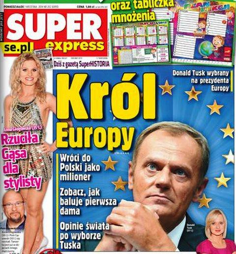 """Tusk-Jubel 4 """"Der König Europas. Doald Tusk zum  Präsidenten Europas gewählt. Er wird nach Polen als Millionär zurückkehren. Überzeuge Dich selbst davon wie die Erste Dame (Tuskas Frau) feiert. Die Meinungen der Welt zu Tusks Wahl."""""""