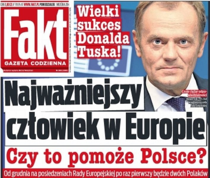 """Die polnische """"Bild-Zeitung""""-Ausgabe. Groβer Erfolg Donald Tusks! Der wichtigste Mann in Europa. Wird er Polen helfen? Ab Dezember wird es bei den Sitzungen des Europäischen Rates zwei polen geben (mit Ministerpräsidentin Kopacz)."""