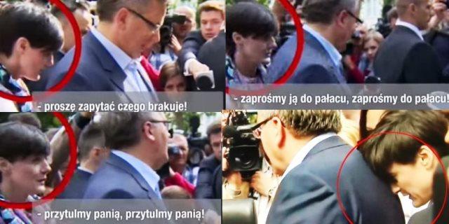 Mit einer Souffleuse auf Wahlkampfspaziergang. Warschau 13. Mai 2015.