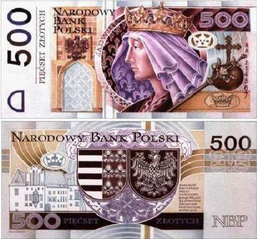 Złoty banknot 500 zł Jadwiga fot.