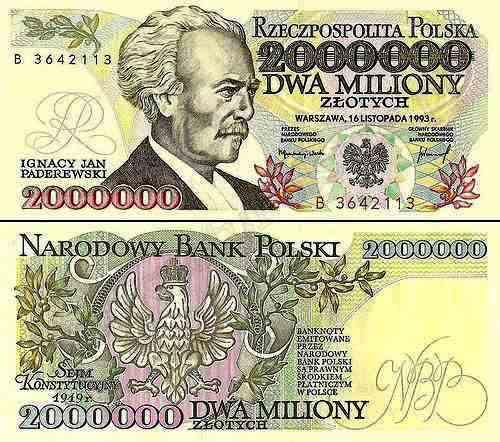 Złoty banknot dwa miliony fot.