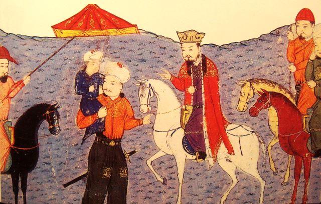 Vorfahre Abaqa (auf dem Schimmel), Darstellung aus dem 14. Jh.